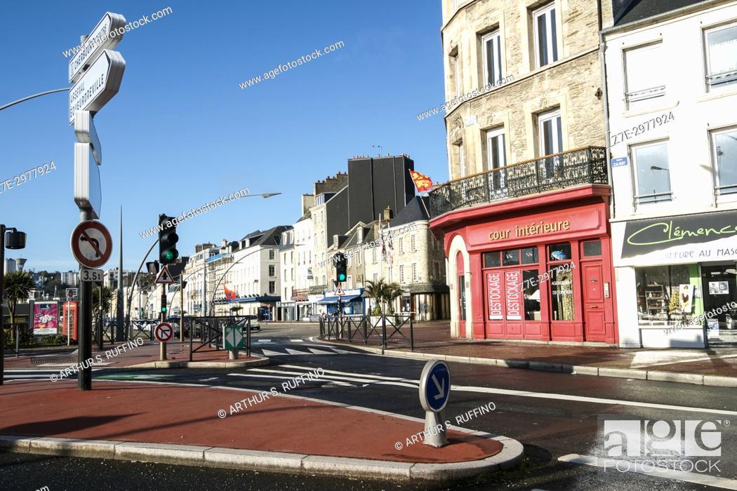 Stock Photo: Quai de Caligny, Cherbourg-Octeville, Manche Department, Normandy, France, Europe.