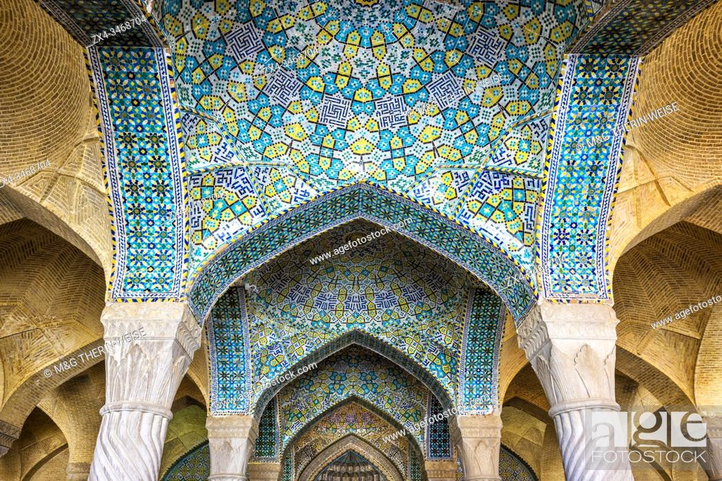 Stock Photo: Walls and ceiling covered with colorful faience tiles, Vakil Mosque, Shiraz, Fars Province, Iran.