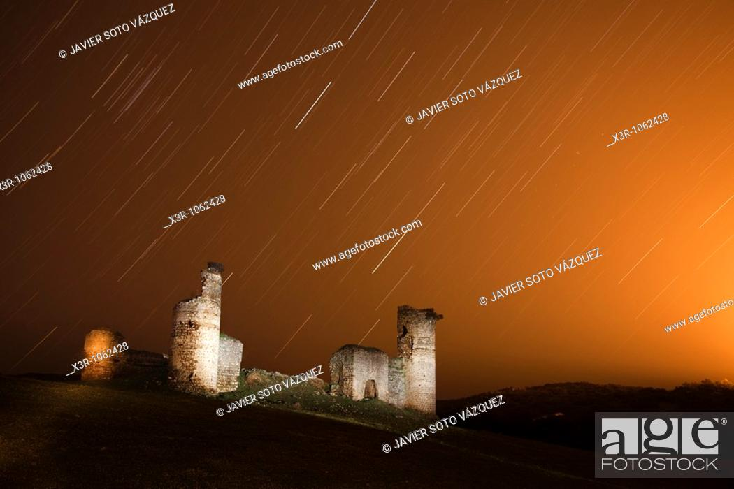 Stock Photo: Startrials near of the Castle of Tower, long exposure.