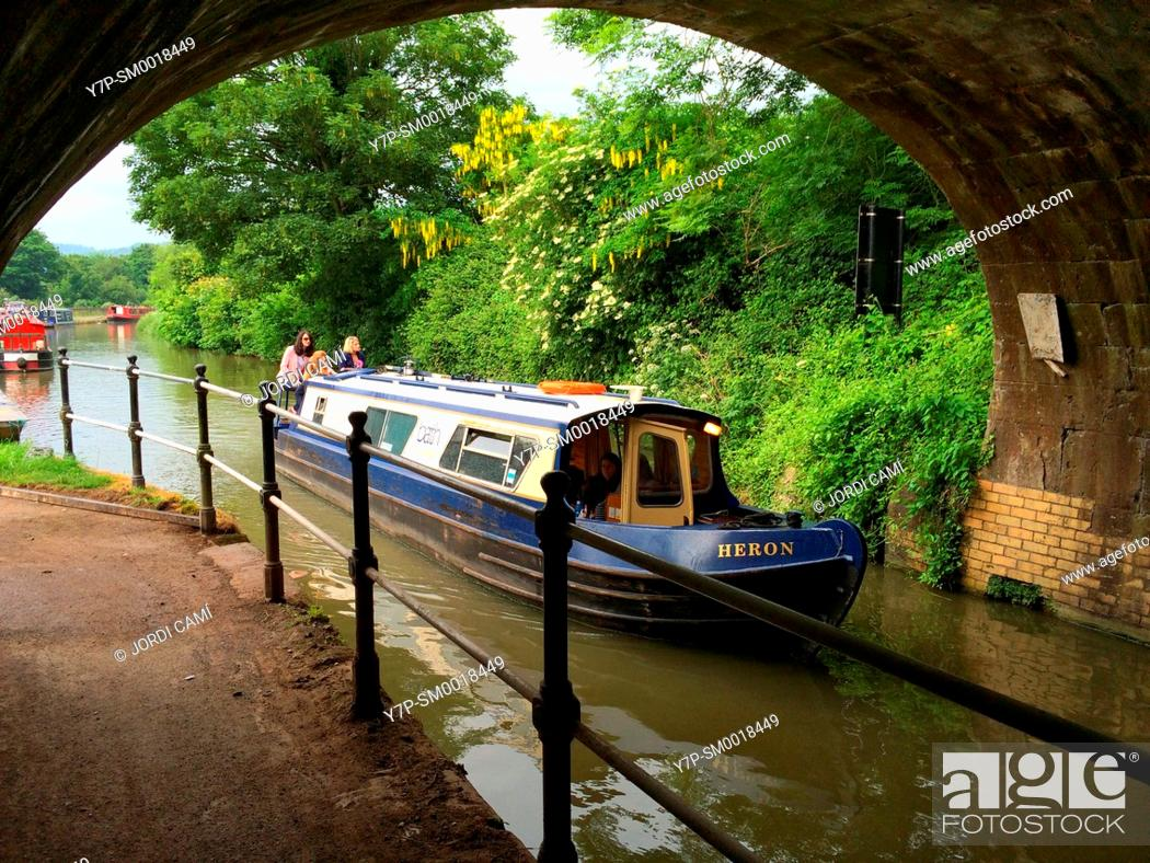 Stock Photo: Houseboats along Avon Canal, Bath. Somerset. England. United Kingdom.