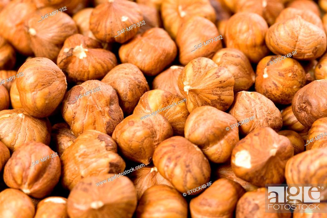 Stock Photo: Detail of hazelnuts.
