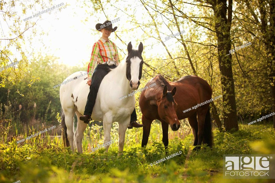 Stock Photo: Female western rider on a Paint Horse, Black Tobiano colour pattern, leading a bay Shagya Arabian horse, riding bareback through the forest, Münsterland.