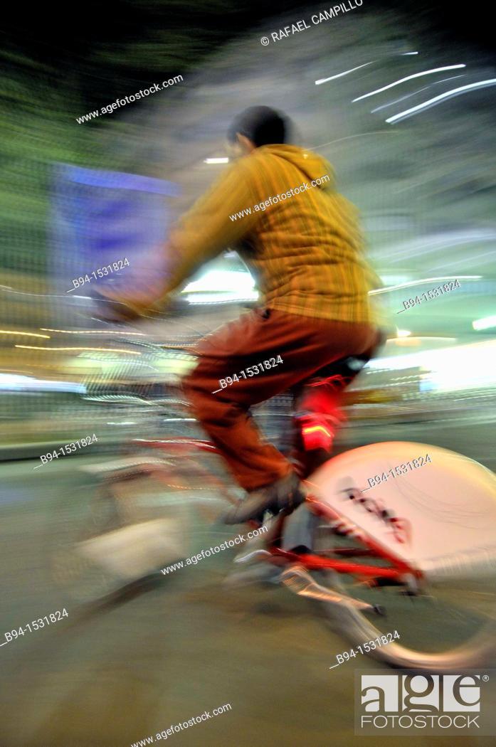 Stock Photo: Urban cyclist, Barcelona, Catalonia, Spain.