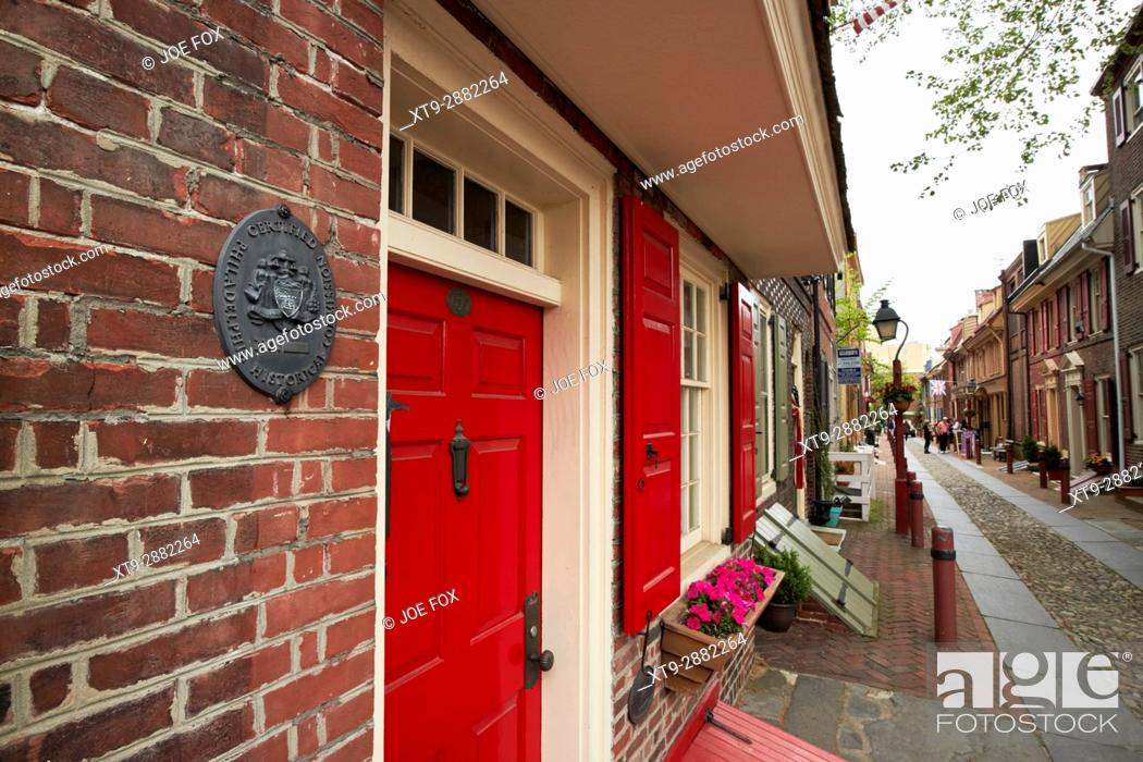 Stock Photo: philadelphia historical commision plaque on elfreths alley in the old city of Philadelphia USA.