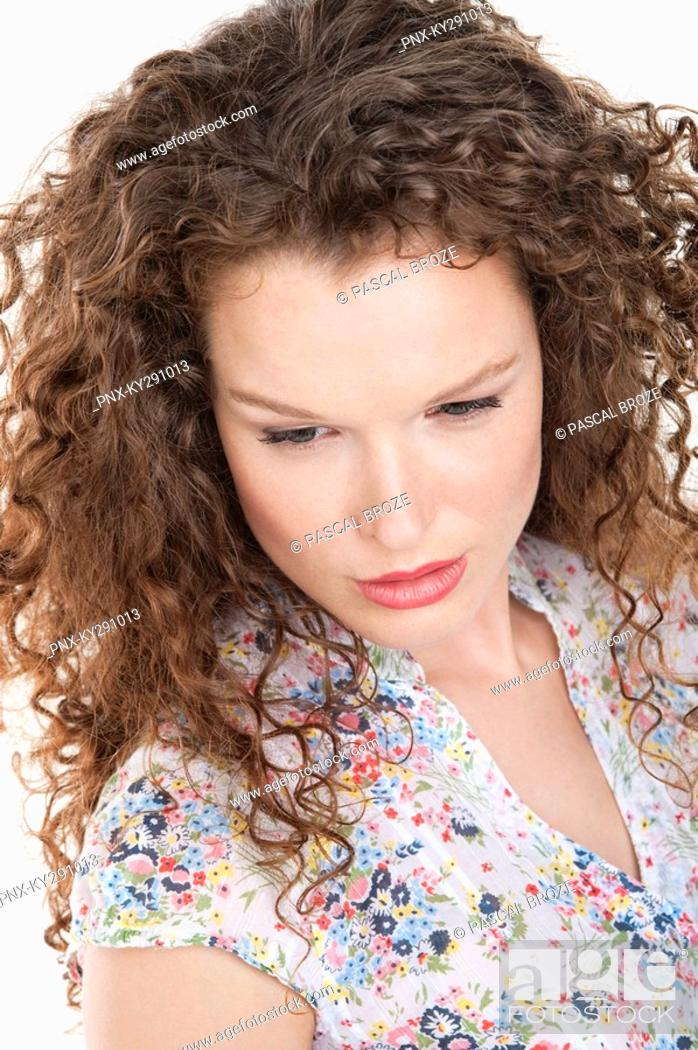 Stock Photo: Close-up of a woman looking serious.