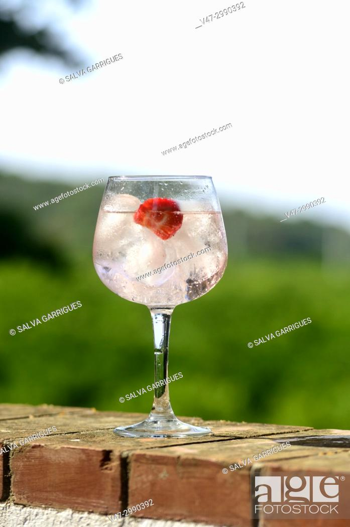 Imagen: A glass cup with a gin and tonic cocktail with ice and strawberries, on a background of nature and mountains relax.