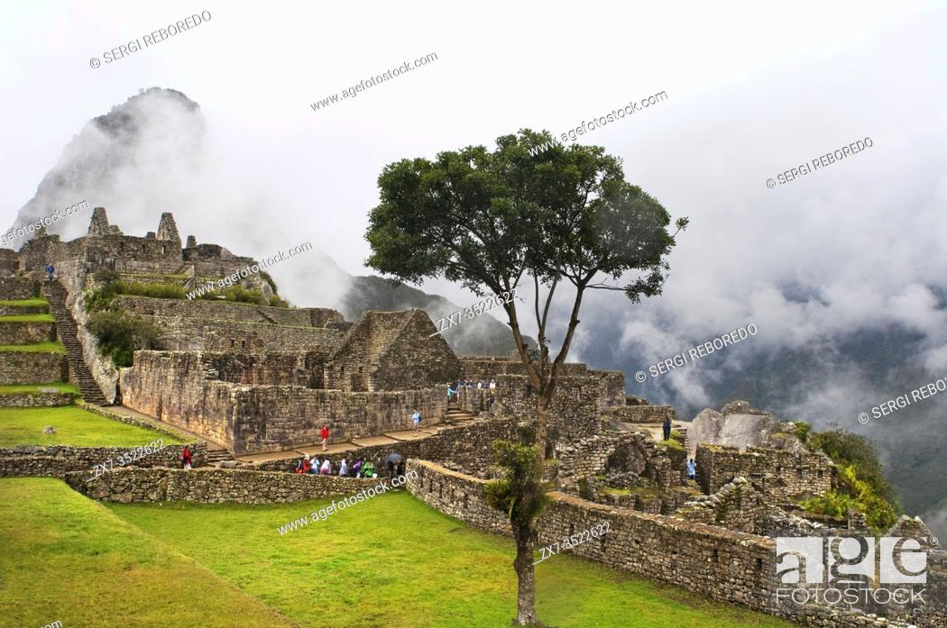 Stock Photo: Inside the archaeological complex of Machu Picchu. Machu Picchu is a city located high in the Andes Mountains in modern Peru.