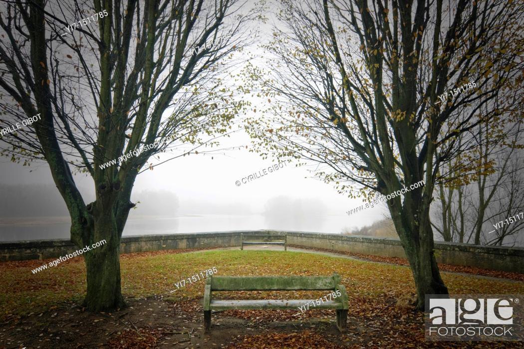 Stock Photo: Old bench in public garden.