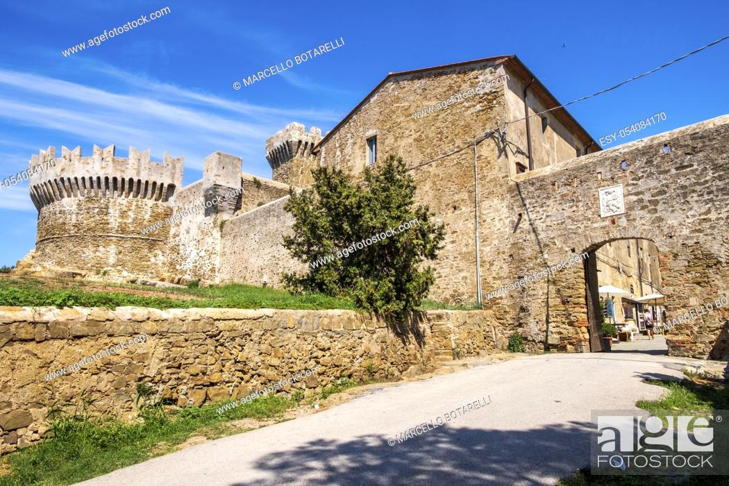 Stock Photo: historical building of populonia, little and traditional town of tuscany, italy.
