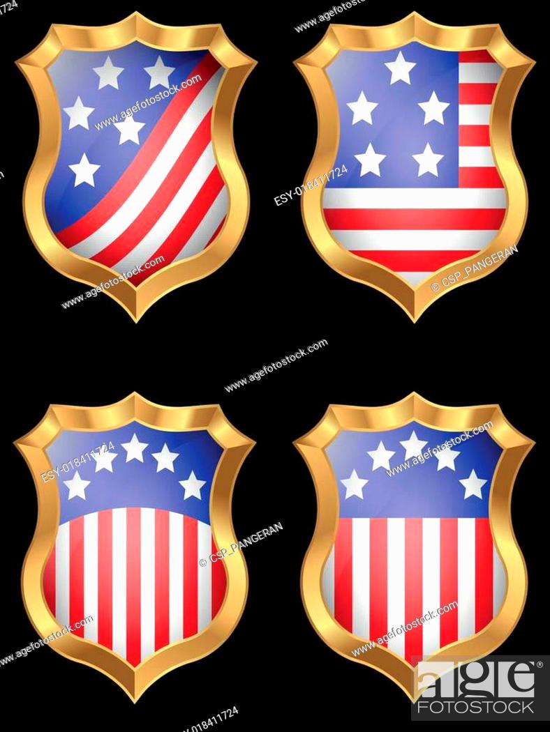 Vector: American flag on metal shiny shield.