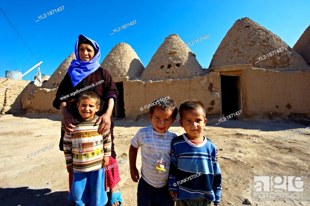 Stock Photo: Pictures of the beehive adobe buildings of Harran, south west Anatolia, Turkey  Harran was a major ancient city in Upper Mesopotamia whose site is near the.