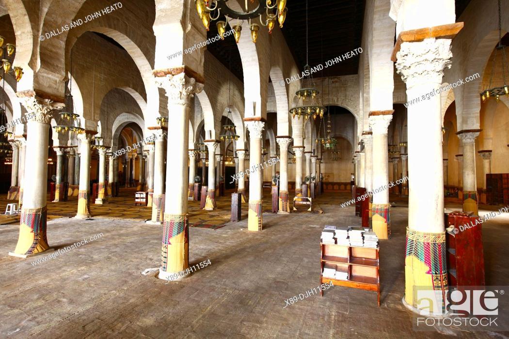 Stock Photo: Africa, Tunisia, Kairouan, Interior of The Great Mosque Okba, Prayer Hall.