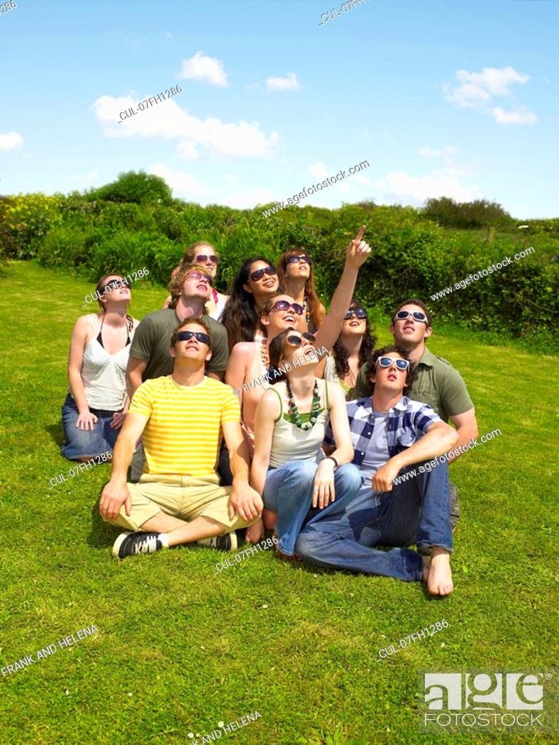 Stock Photo: Group of people wearing sunglasses.