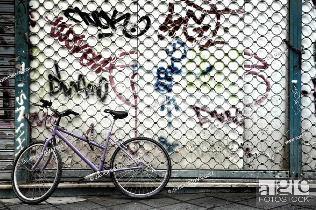 Stock Photo: bicycle abandoned in the middle of a street in my city.