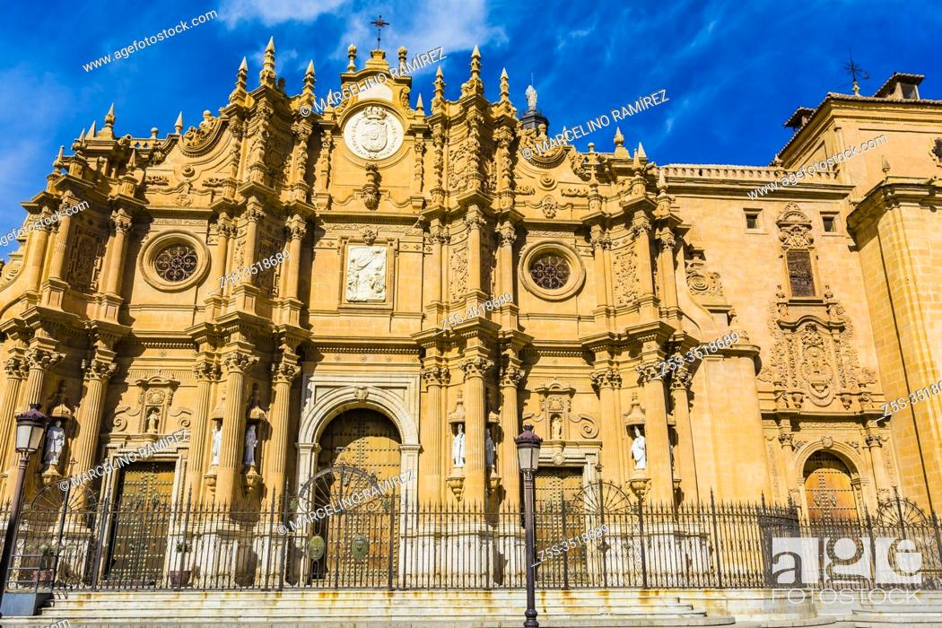 Stock Photo: Guadix Cathedral, Cathedral of Guadix, or Cathedral of the Incarnation. Construction of the building began in the 16th century and was completed in the mid-18th.