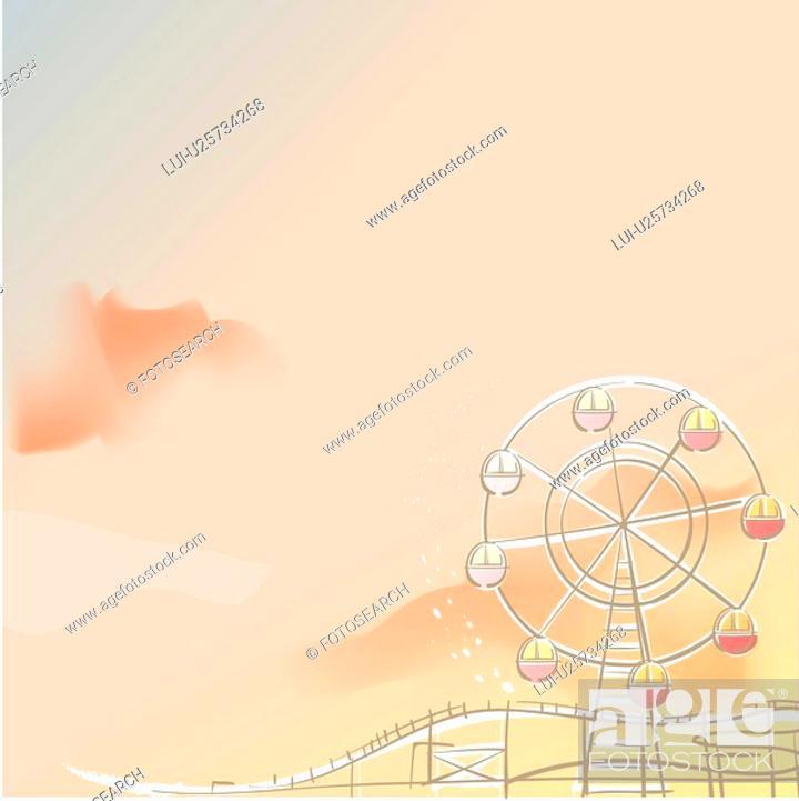 Stock Photo: roller coaster, season, amusement ride, amusement park, winter, ferris wheel, background.