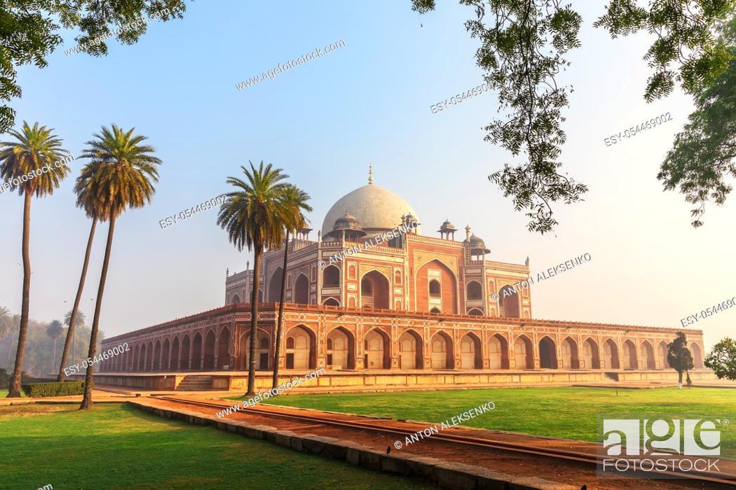 Stock Photo: Humayun's Tomb main view, New Delhi, India.