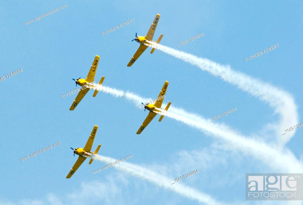 Stock Photo: Vintage US Navy Squadron flying in formation at air show  Chicago Air and Water Show.