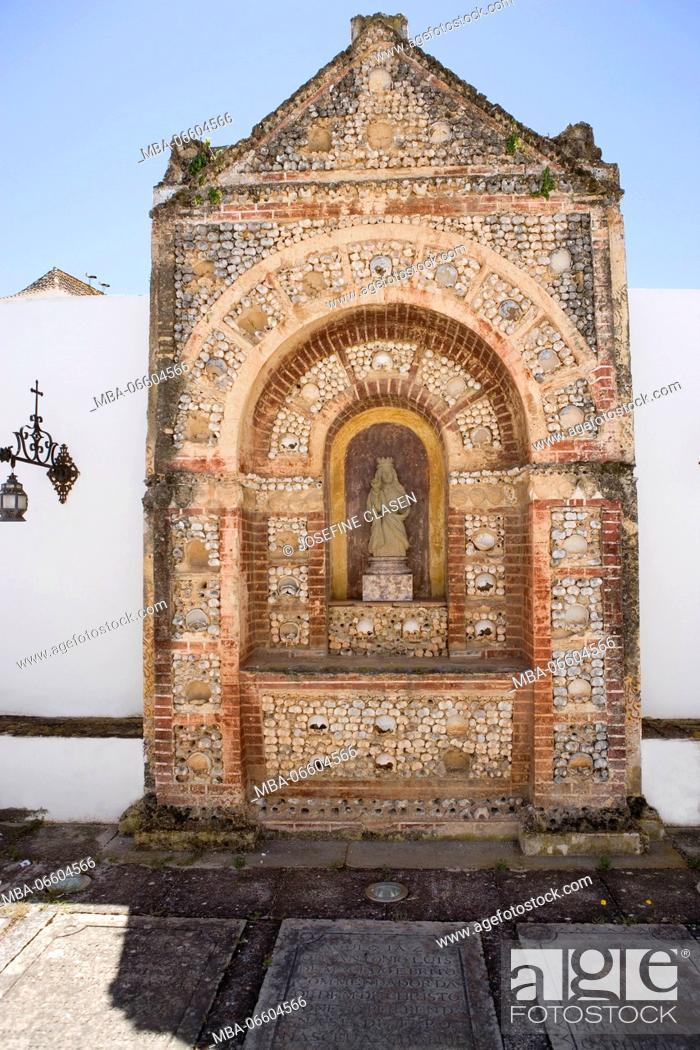 Stock Photo: Faro, Silves Cathedral / Sé Catedral de Silves, 13. Cent., Capela dos Ossos / Chapel of Bones with Madonna behind the cathedral, churchyard, Largo da Sé.