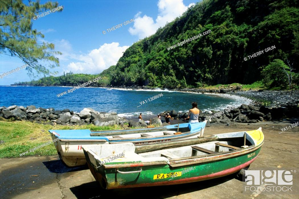 Stock Photo: Local fishing boats, port of Anse des cascades (between Piton Sainte Rose and Bois Blanc), La Reunion island (France), Indian Ocean.