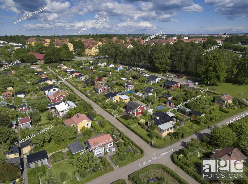 Stock Photo: Tuna allotment garden association, UPPSALA. Sweden.