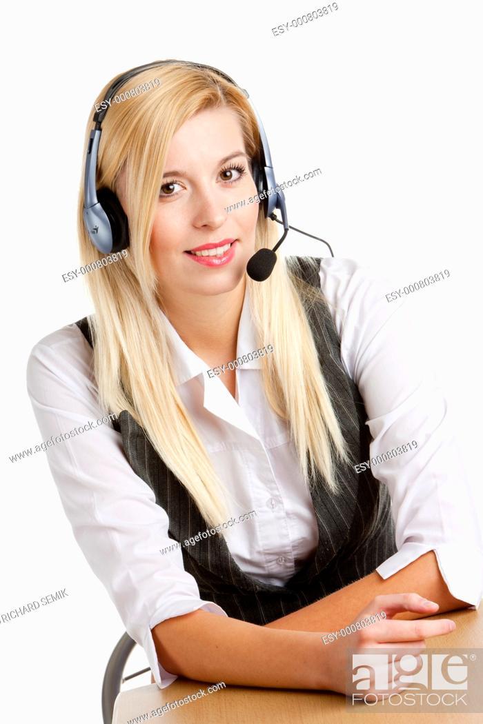Stock Photo: operator''s portrait.
