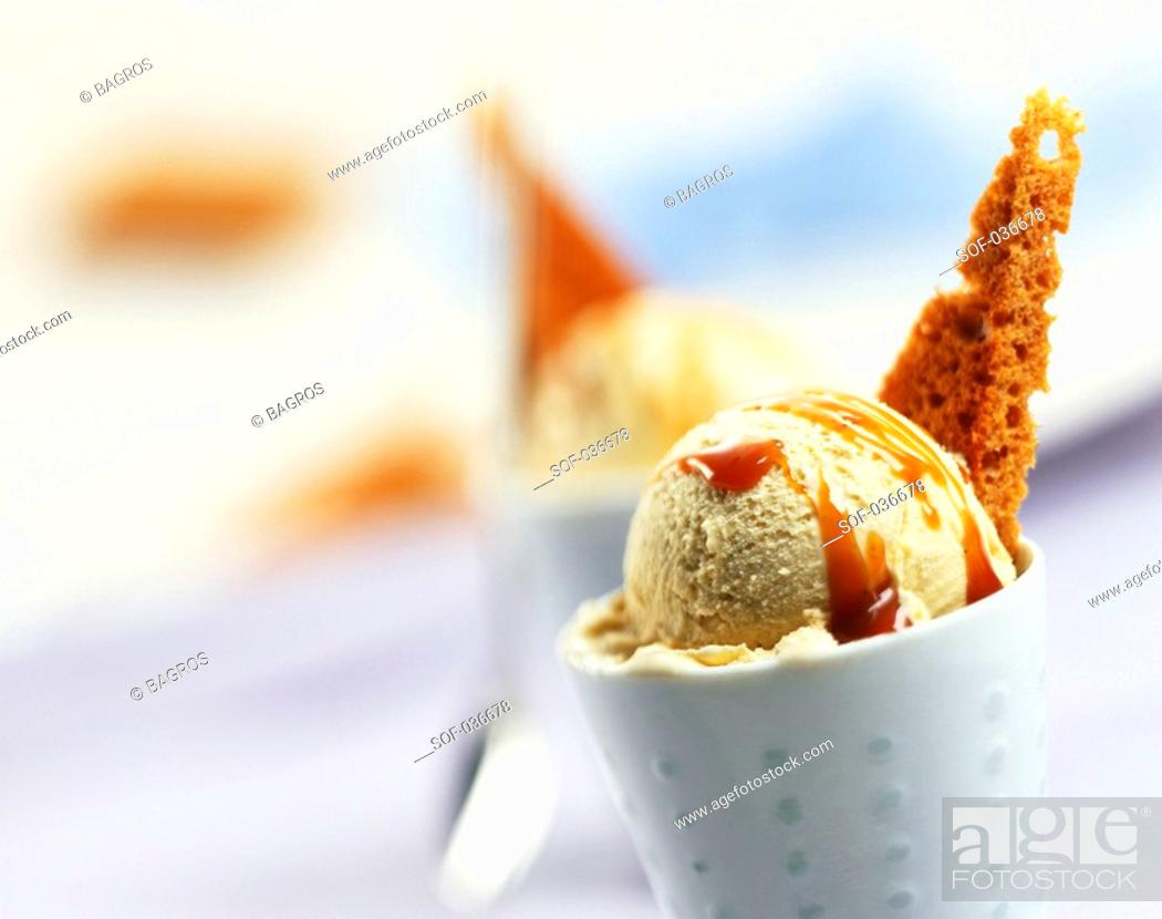 Stock Photo: vanilla and caramel ice cream.