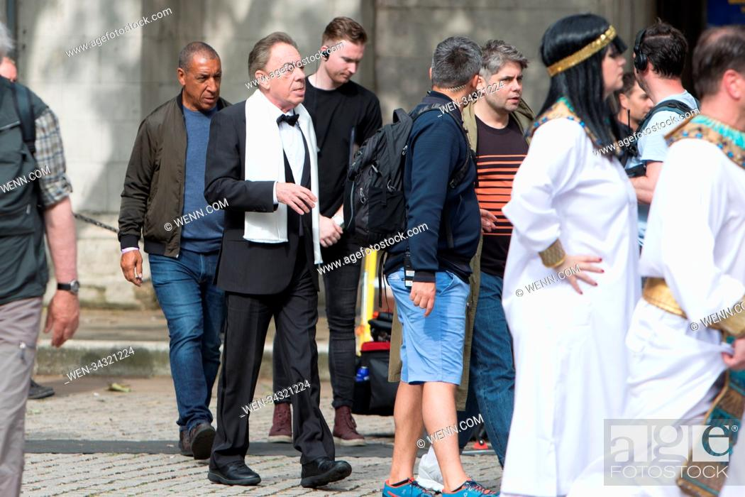 Stock Photo: James Coden Films The Late Show with Sir Andrew Lloyd Webber this afternoon. During filming Corden dressed as various characters from Andrew Lloyd Webber.