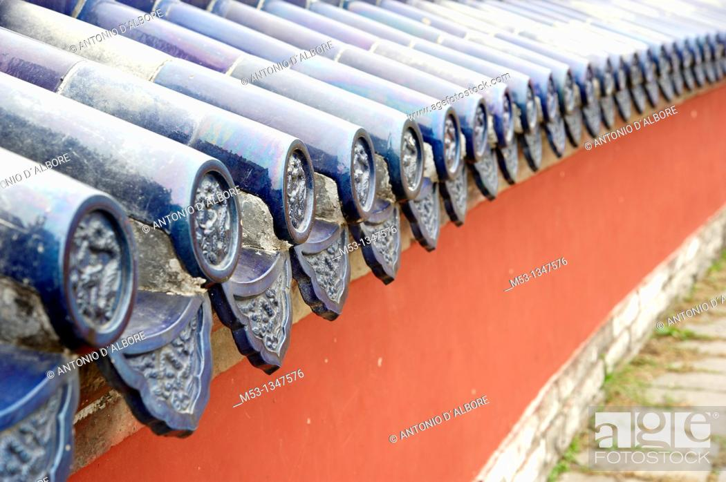 Stock Photo: Chinese style wall decorated with glazed ceramic  Temple of Heaven  Beijing  China.