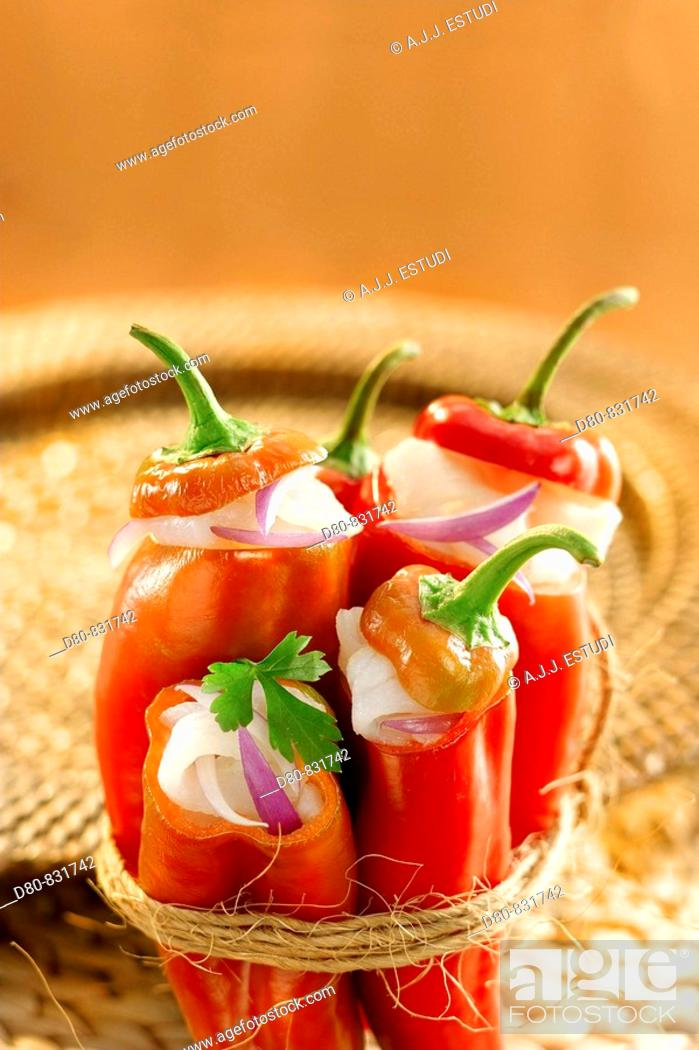 Stock Photo: Stuffed peppers with codfish.