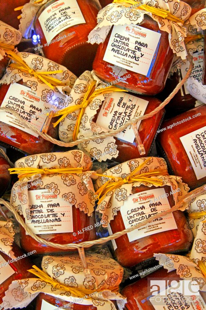 Stock Photo: Jars of hazelnut spread creams, All Those Food Market 2019, Barcelona, Catalonia, Spain.