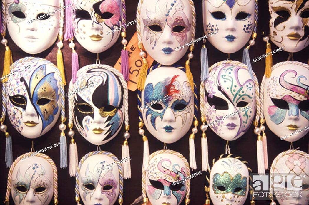 Stock Photo: Close-up of masquerade masks, Venice, Veneto, Italy.