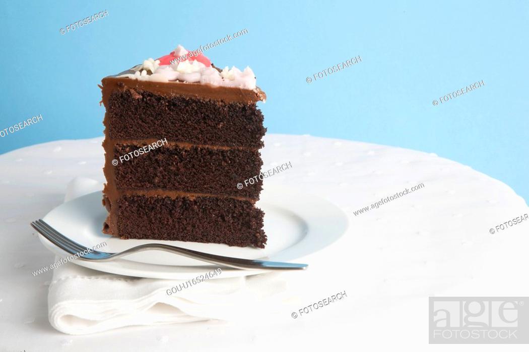 Stock Photo: Piece of chocolate cake.