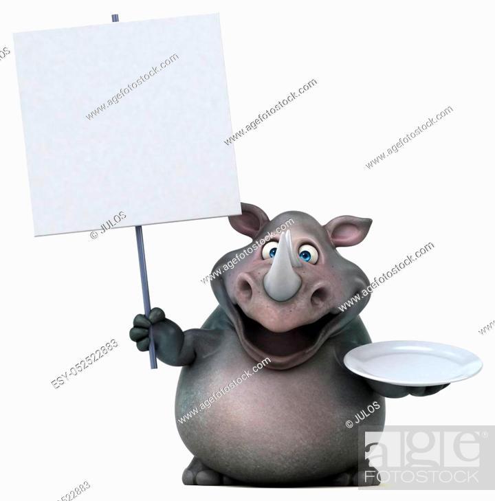 Stock Photo: Fun rhinoceros - 3D Illustration.