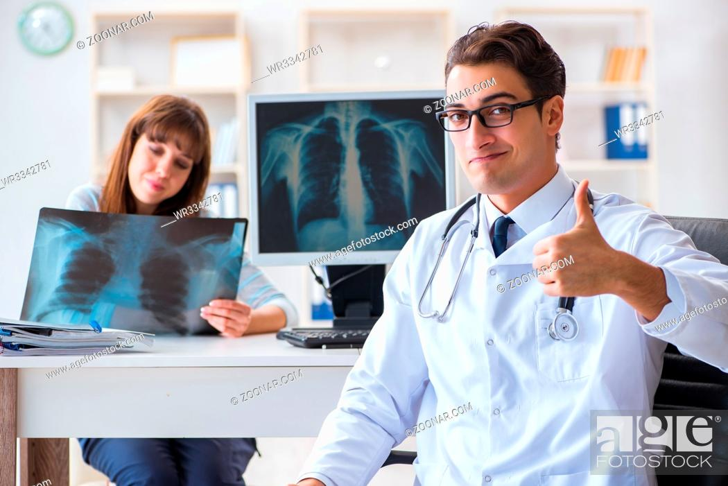 Stock Photo: Young woman visiting radiologist for x-ray exam.