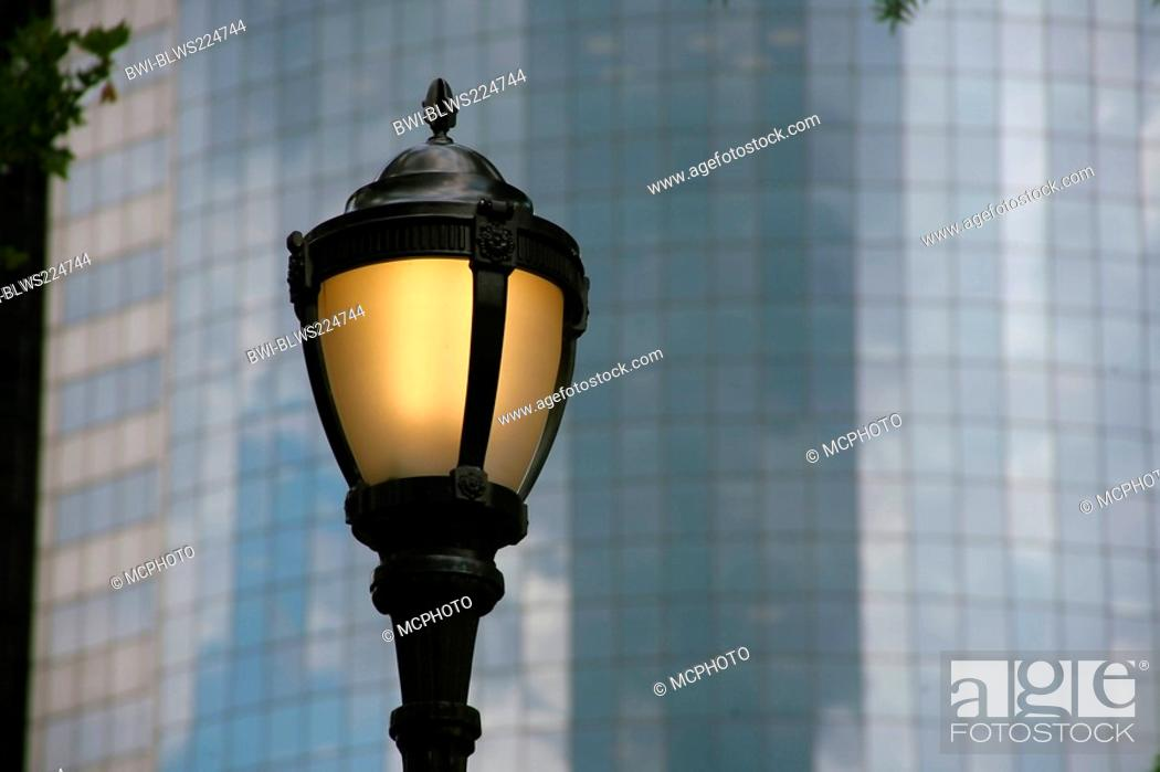Stock Photo: office building with street lamp, USA, New York City.