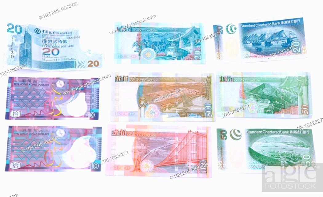 Hong Kong Dollars Banknotes Are Issued By Different Banks Hong Kong