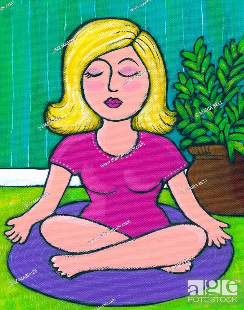 Stock Photo: A woman doing yoga.