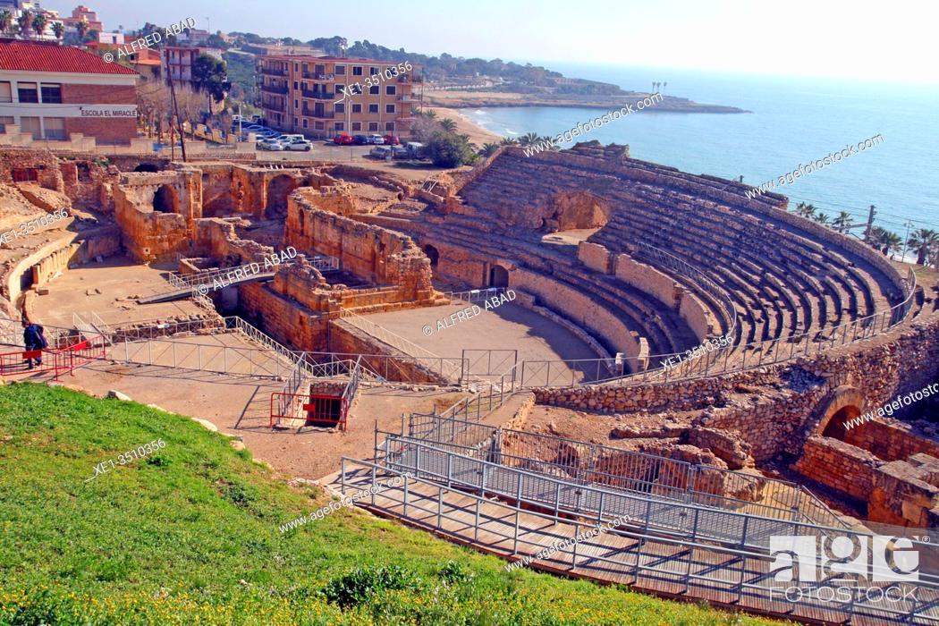 Stock Photo: ruins , roman amphitheater, Tarragona, Catalonia, Spain.