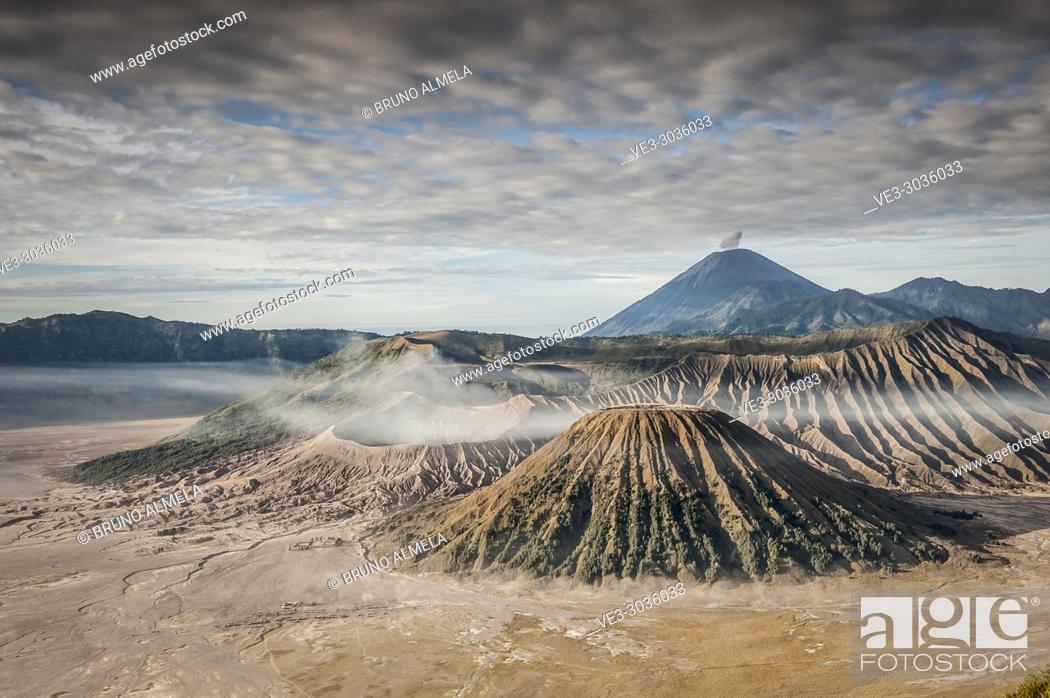 Stock Photo: View of Mts. Bromo, Semeru, Batok and Widodaren in Bromo Tengger Semeru National Park (East Java, Indonesia).