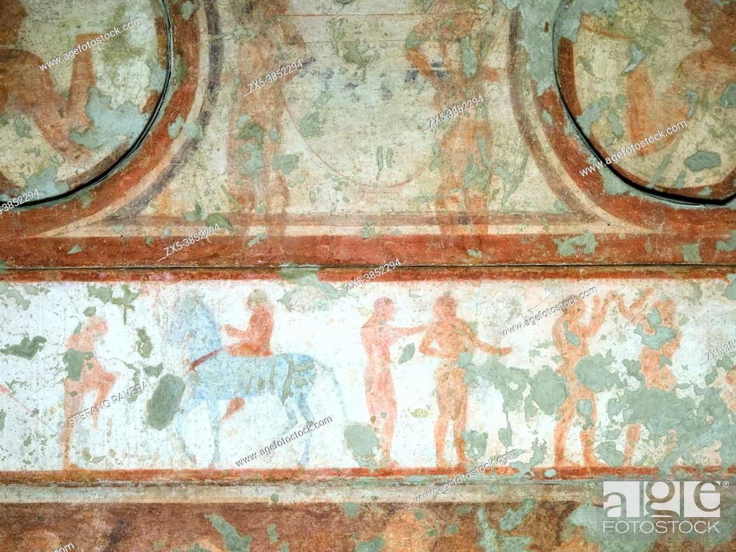 Stock Photo: Fresco painted wall detail in Tomba dele bighe (Tomb of the chariots) 5th century BC - Tarquinia National Archaeological Museum, Italy.