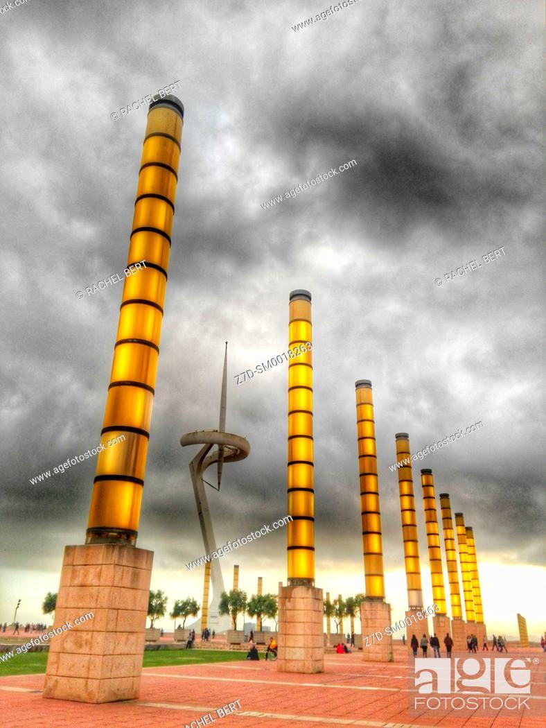 Stock Photo: Olympic Park in Montjuic, Barcelona, Catalonia, Spain.
