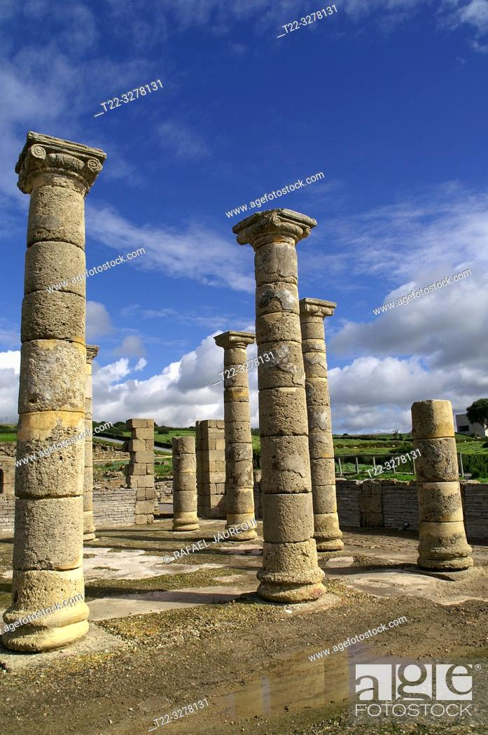 Stock Photo: Rate (Spain). Columns of the forum of the Roman city of Baelo Claudia.