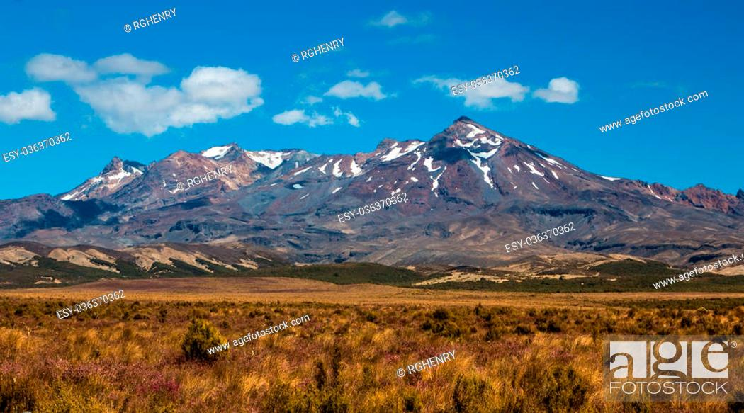 Stock Photo: Mt. Ruapehu in The National Park New Zealand in summer time.