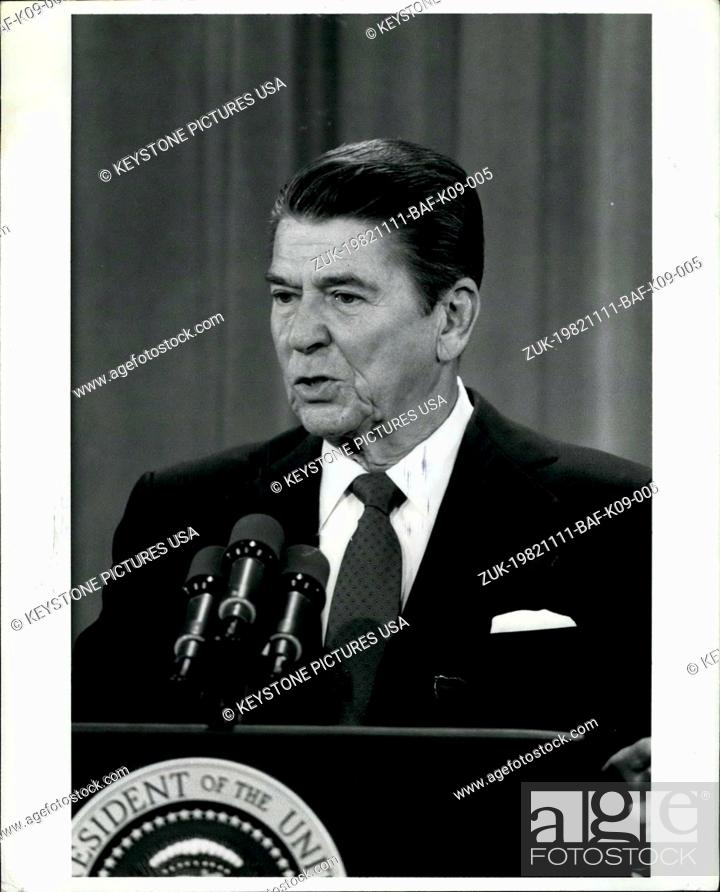 Stock Photo: Nov. 11, 1982 - East Room Press Conference Washington, D.C.: President Ronald Reagan is shown responding to questions during a Nationally televised new.