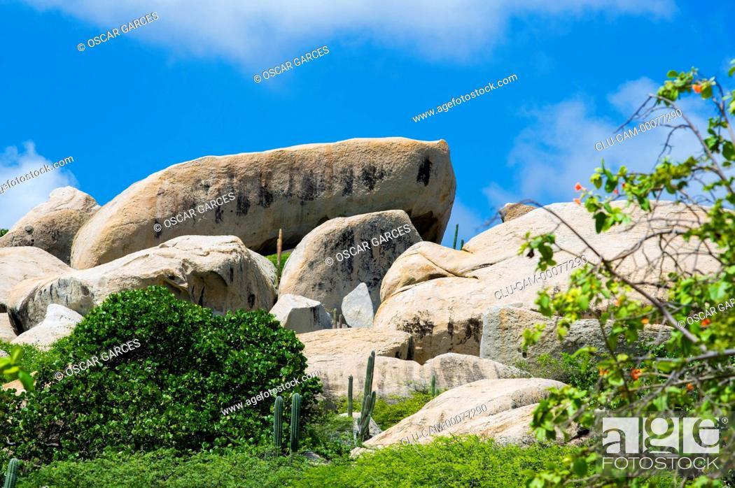 Stock Photo: Ayo Rock Formations, Ayo village, Aruba, Oranjestad, Lesser Antilles, Central America.