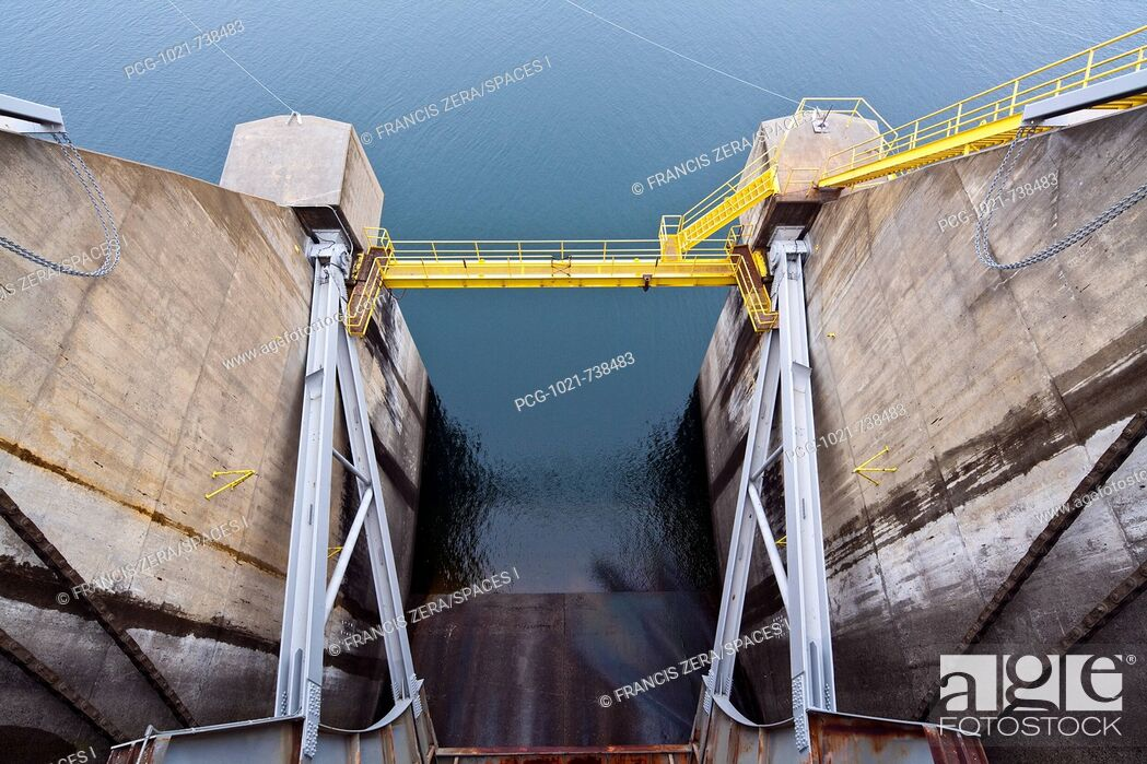 Stock Photo: Closed Dam Floodgate.
