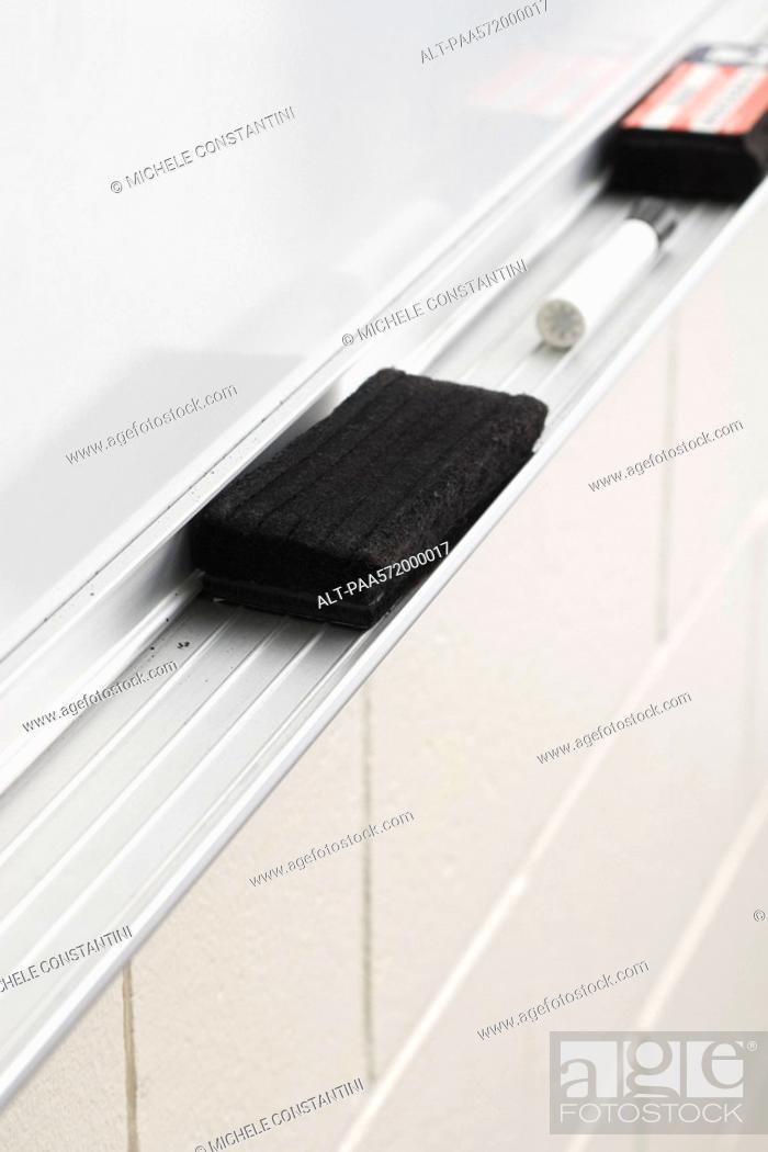 Stock Photo: Whiteboard eraser tray.