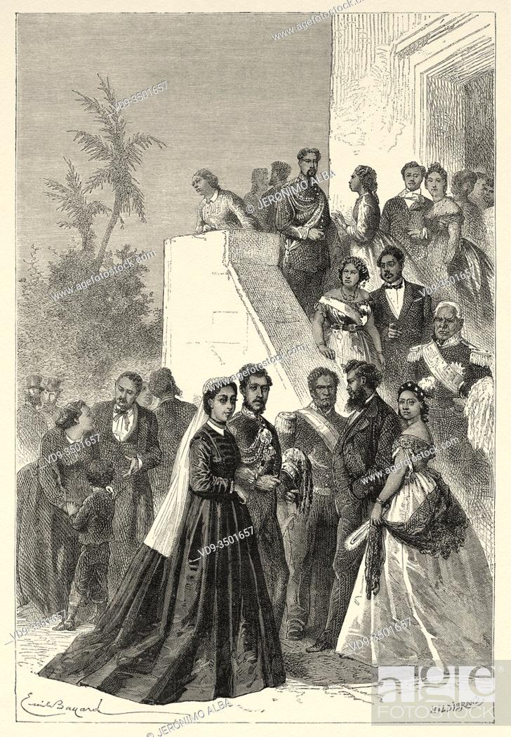 Stock Photo: Kamehameha V and his court, Constitutional King of Hawaii. Lot Kapuaiwa, Mysterious Taboo (1830 - 1872). Hawaii, United States.