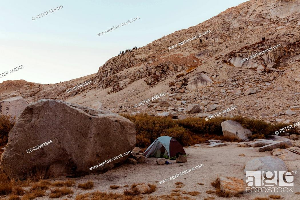 Stock Photo: Dome tent in rocky landscape, Mineral King, Sequoia National Park, California, USA.